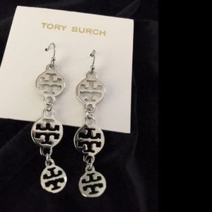 Tory Burch Silver Plated Drop Dangle Earrings